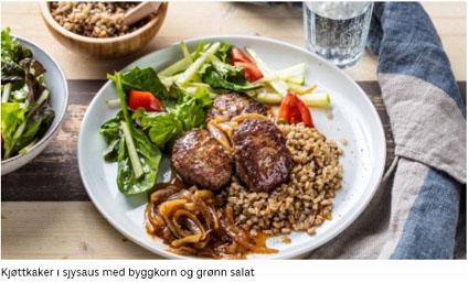 Godtlevert Premiumkassen - Kjøttkaker i sjysaus med byggkorn og grønn salat